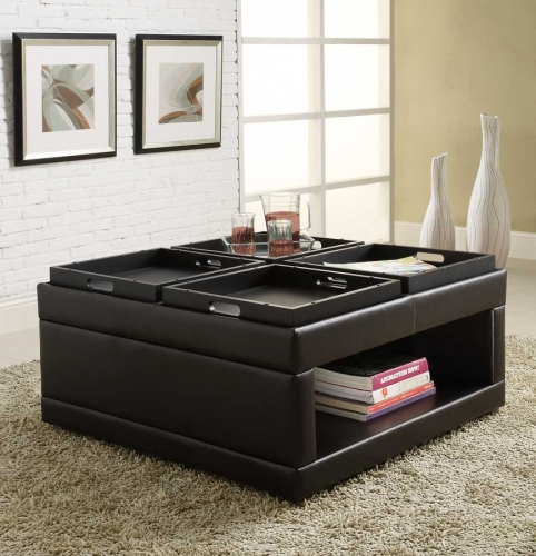 Fleming Cocktail Ottoman with 4 Trays