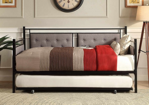 Octavia Button Tufted Upholstered Metal Daybed with Trundle - Black-Grey