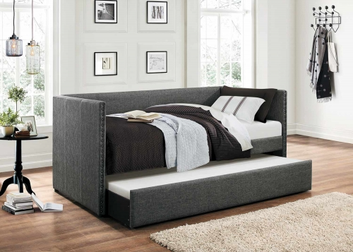 Therese Upholstered Daybed with Trundle - Grey