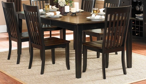 Three Falls Rectangular Dining Table - Two Tone Dark Brown/Black Sand