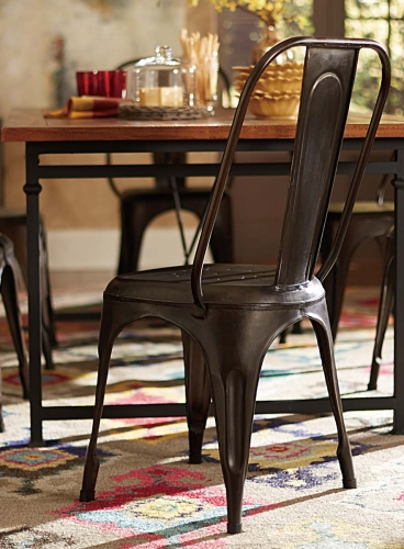 Amara Rustic Metal Chair - Rustic Brown