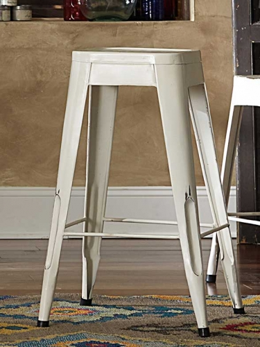 Amara 29in Metal Bar Stool - White