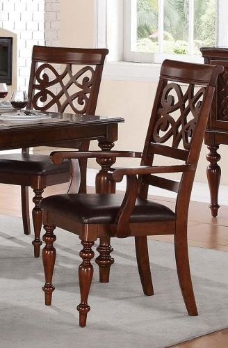 Creswell Arm Chair - Dark Brown Bi-Cast Vinyl - Rich Cherry