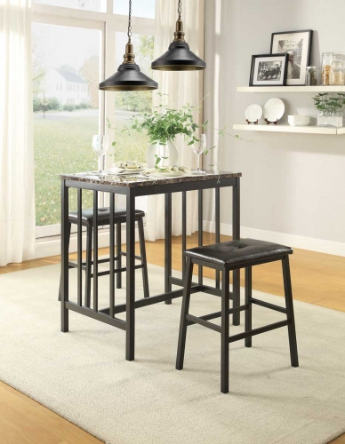 Edgar 3 Piece Counter Height Set - Black Bi-Cast Vinyl - Black