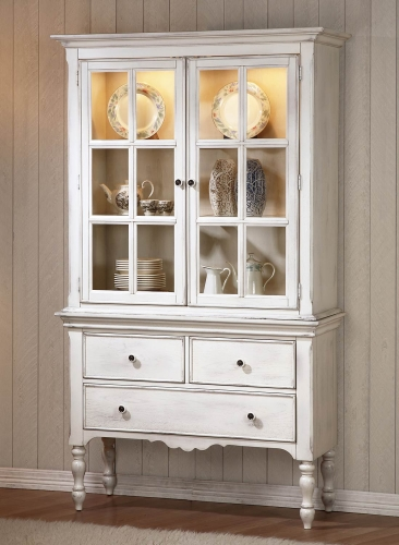 Hollyhock China Cabinet - Distressed White/Oak