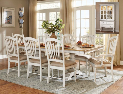 Hollyhock Trestle Pedestal Dining Set - Distressed White/Oak