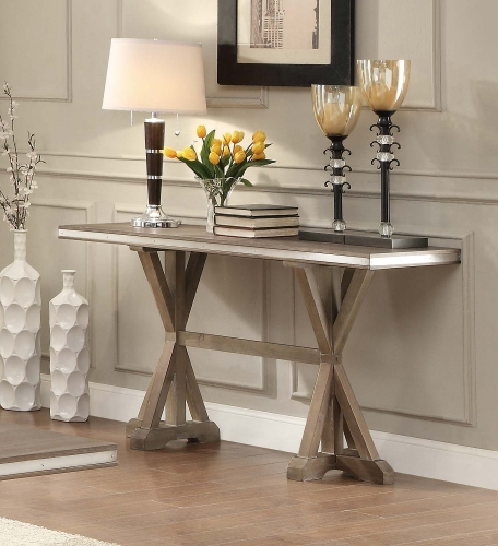 Beaugrand Sofa Table - Light Brown with Stainless Steel Apron Banding