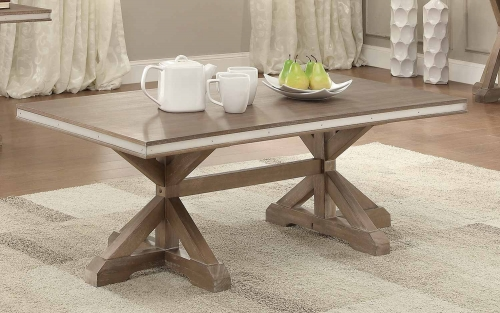 Beaugrand Cocktail/Coffee Table - Light Brown with Stainless Steel Apron Banding