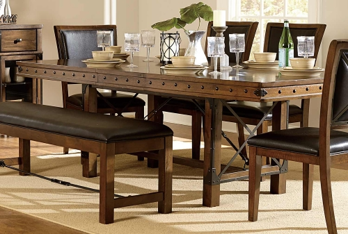 Urbana Trestle Dining Table - Burnished Brown