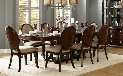 Delavan Pedestal Dining Set - Brown Cherry
