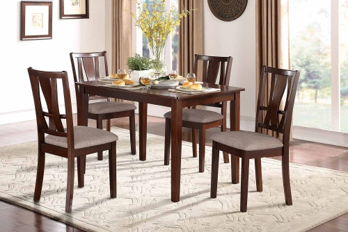 Rushville 5-Piece Pack Dinette Set - Warm Cherry