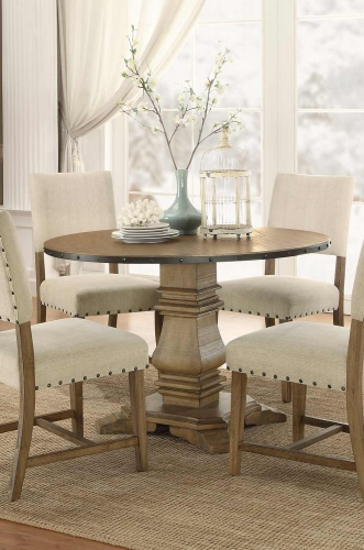 Veltry Round Pedestal Dining Table - Weathered Finish