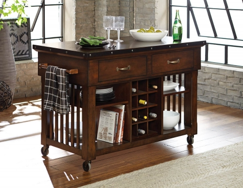 Schleiger Kitchen Cart - Burnished Brown