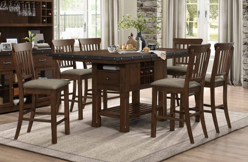 Schleiger Counter Height Dining Set - Dark Brown