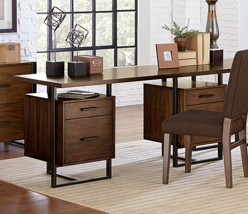 Sedley Writing Desk with Two Cabinets - Walnut