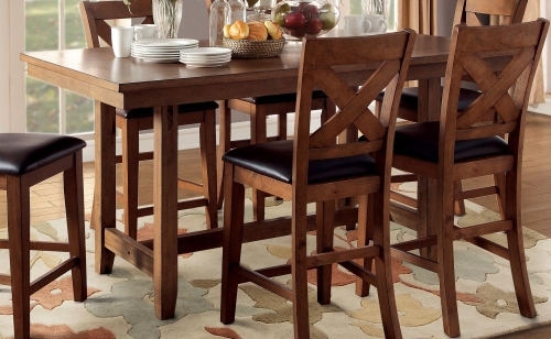 Burrillville Trestle Counter Height Dining Table - Oak