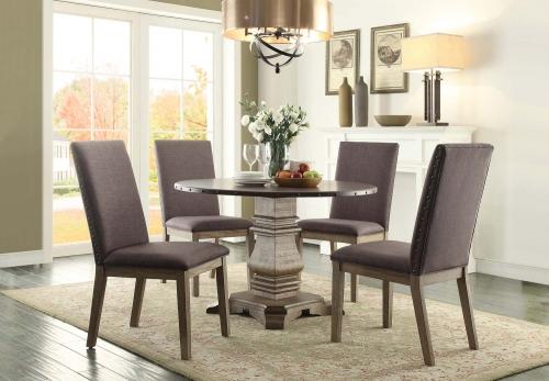 Anna Claire Round Dining Set S1 - Driftwood/Zinc