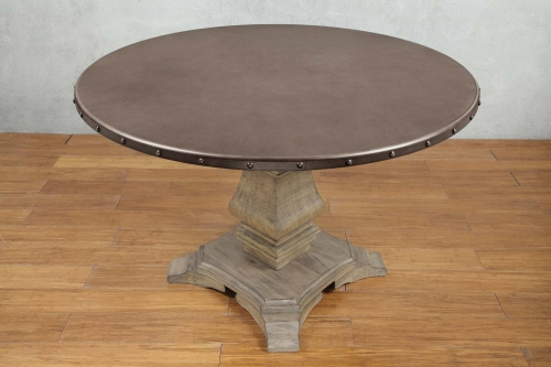Anna Claire Round Dining Table - Driftwood/Zinc