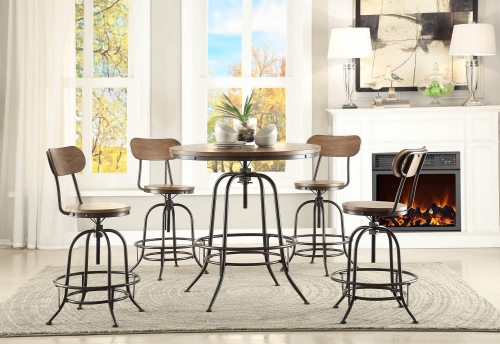 Angstrom Round Counter Height Dining Set - Adjustable Height A