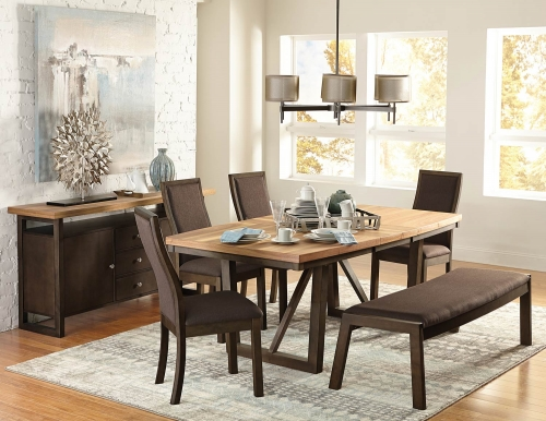 Compson Dining Set - Natural/Walnut