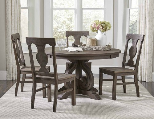Toulon Round Dining Set - Wire-brushed Dark Pewter