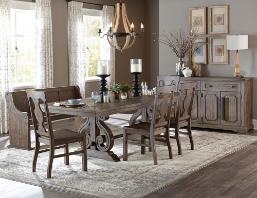 Homelegance Toulon Trestle Dining Set - Wire Brushed