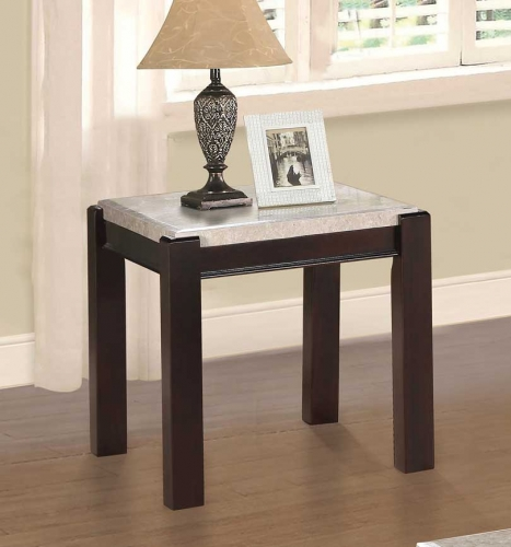 Festus End Table - Marble Top - Dark Cherry