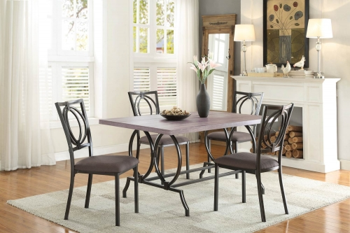 Chama Dining Set - Metal/Wood