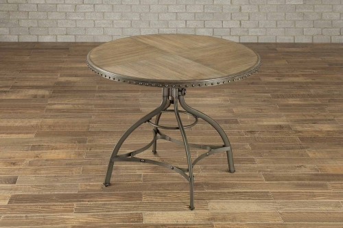 Beacher Round Adjustable Height Dining Table - Weathered Wood Veneer