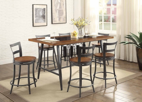 Selbyville Rectangular Counter Height Dining Set - Cherry/Gunmetal