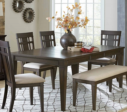 Makah Rectangular Dining Table with Leaf - Dark Brown