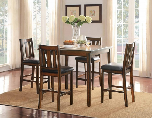 Delmar 5- Piece Pack Counter Height Dining Set - Burnish Finish