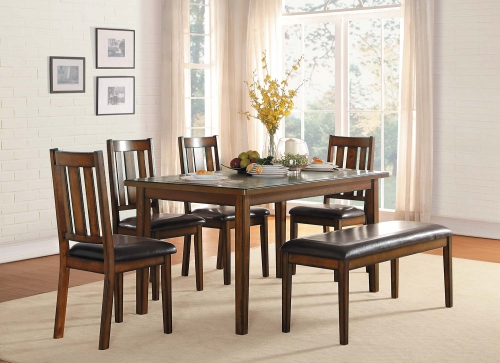 Delmar 6- Piece Pack Dinette Set - Burnish Finish