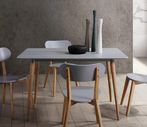 Orpheus Rectangular Dining Table - Natural Pine Finish/Gray