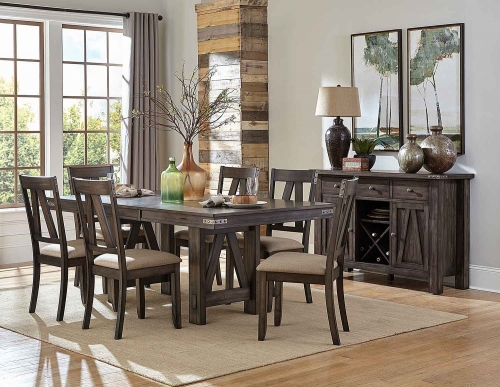 Mattawa Rectangular Dining Set - Brown/Hints of Gray Undertone