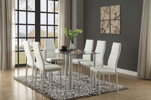 Florian Rectangular White Dining Set