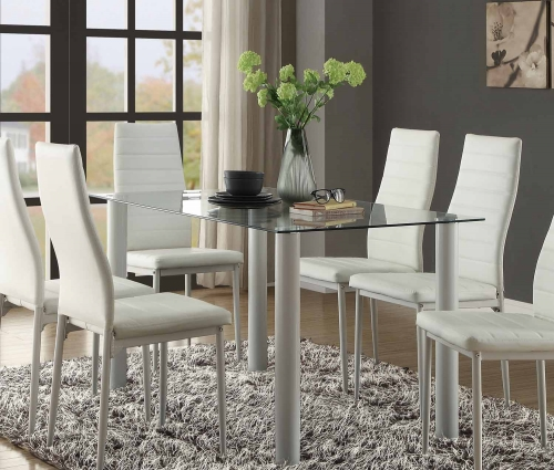 Florian Rectangular Glass Table Top Dining Table - White