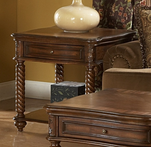 Trammel End Table with Drawer