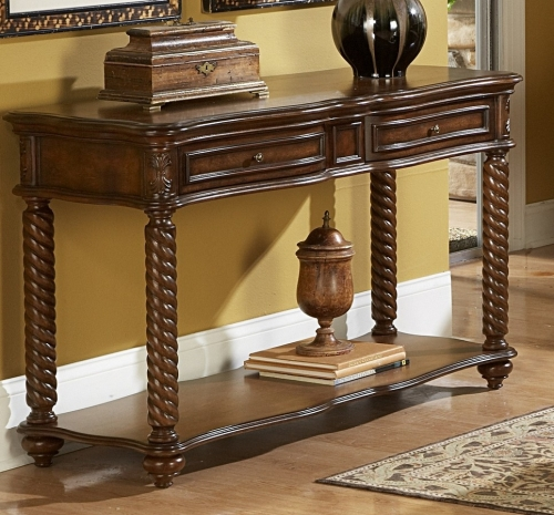 Trammel Sofa Table with Drawer