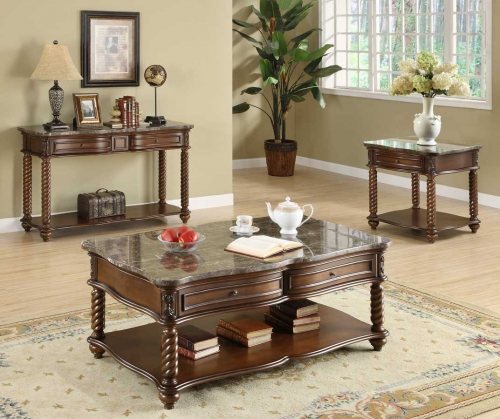 Lockwood Occasional Table Set - Brown Mahogany