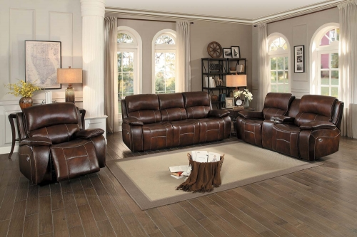 Mahala Power Reclining Sofa Set - Brown Top Grain Leather Match