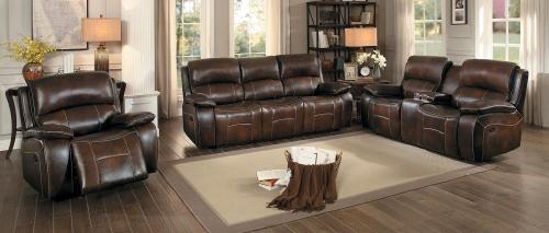 Mahala Reclining Sofa Set - Brown Top Grain Leather Match