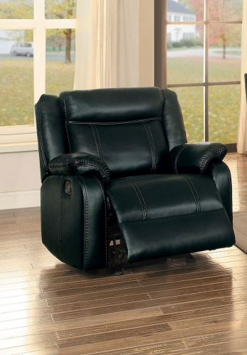Jude Glider Reclining Chair - Black Leather Gel Match