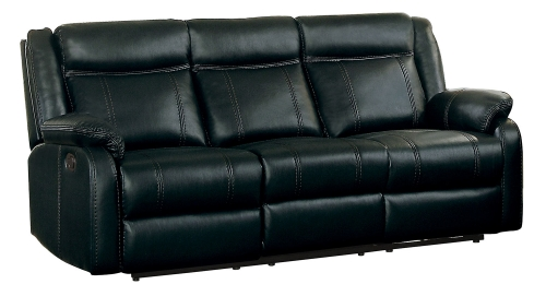Jude Double Reclining Sofa with Drop-Down Table - Black Leather Gel Match