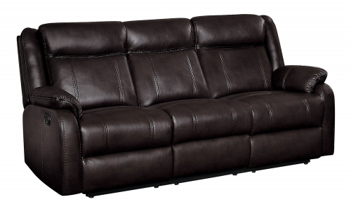 Jude Double Reclining Sofa with Drop-Down Table - Dark Brown Leather Gel Match