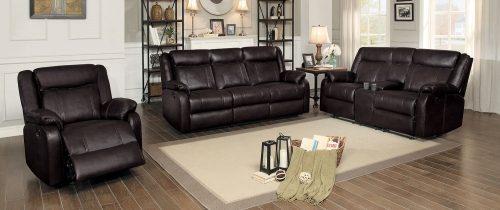 Jude Reclining Sofa Set - Dark Brown Leather Gel Match
