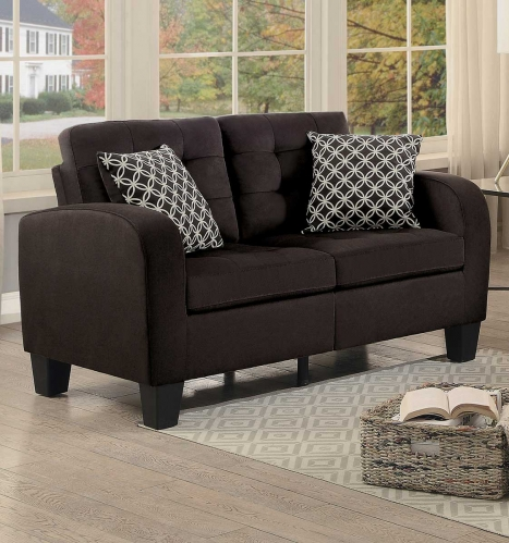 Sinclair Love Seat - Chocolate Fabric