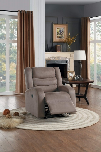 Earl Reclining Chair - Brown Fabric