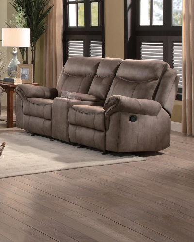 Aram Double Glider Reclining Love Seat with Center Console and Receptacles - Brown Fabric