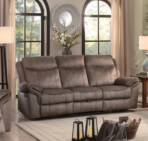 Aram Double Reclining Sofa with Drop-Down Table and Center Storage Drawer - Brown Fabric